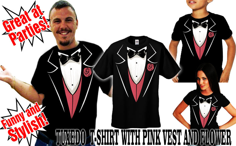 Tuxedo T-Shirts - Tuxedo With Pink Vest And Flower Girl's T-Shirt (Black)