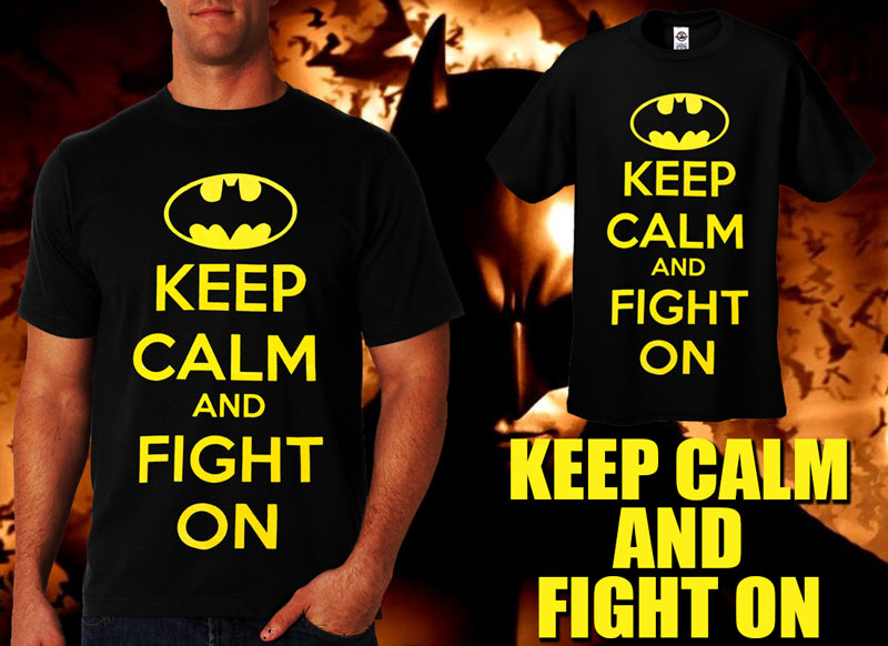 Batman Keep Calm and Fight On Men's T-Shirt (Black) yellow print
