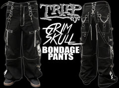 "Tripp NYC ""Grim Skull"" Bondage Pants (Black/White)"