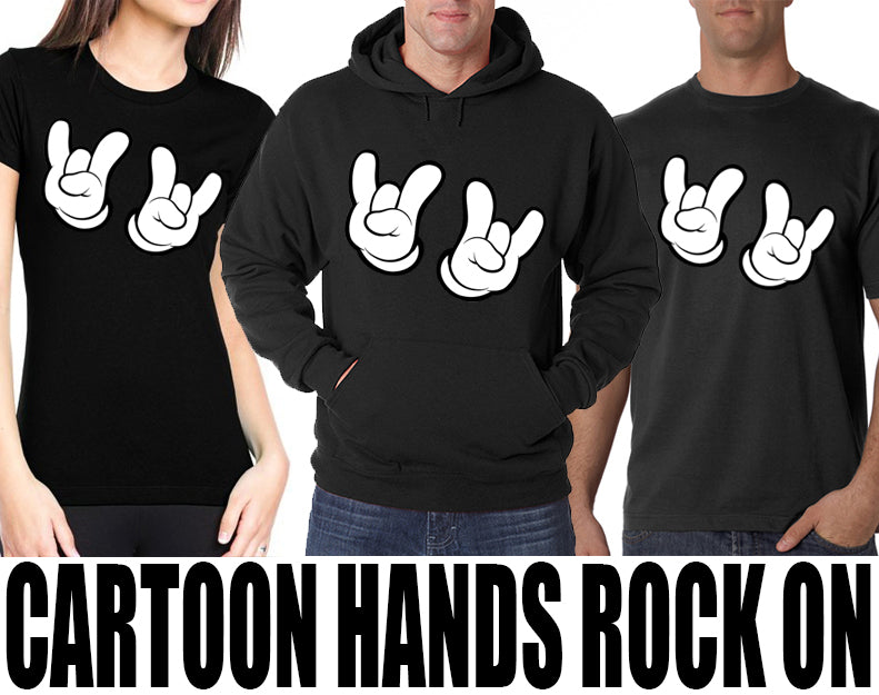 Cartoon Hands Rock On Adult Hoodie