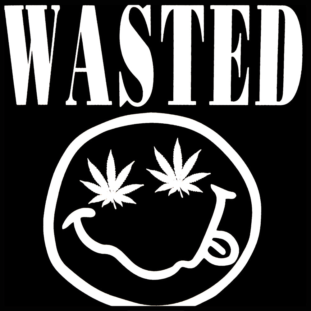 Wasted Pot Leaf Smiley Face Crew Neck Sweatshirt