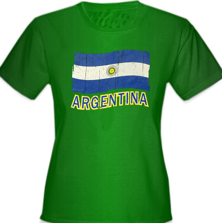 Vintage Argentina Waving Flag Girl's T-Shirt