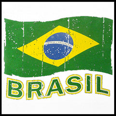 Vintage Brasil Waving Flag Girl's T-Shirt