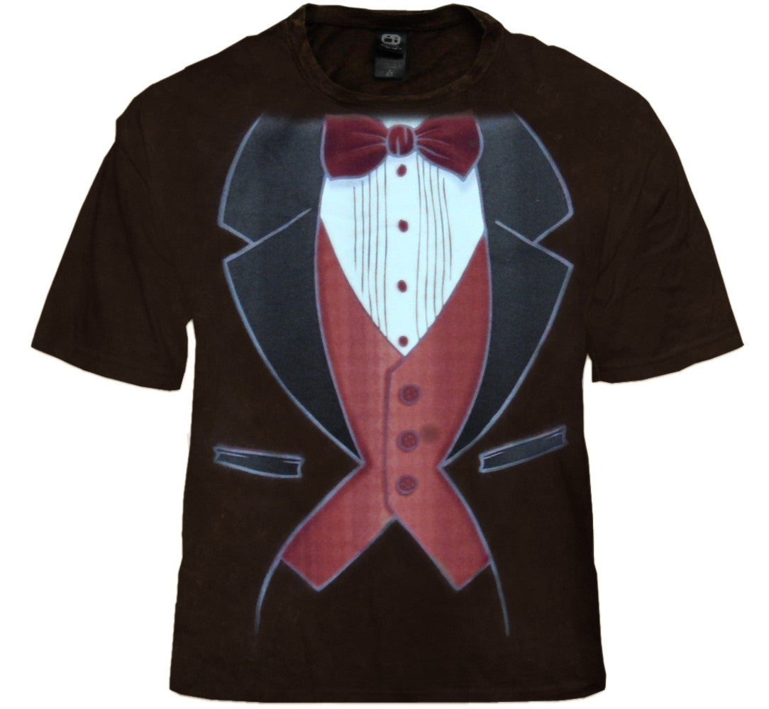 Vintage Distressed Tuxedo T-Shirt (Brown)