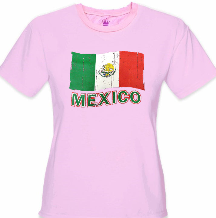 Vintage Mexico Waving Flag Girl's T-Shirt