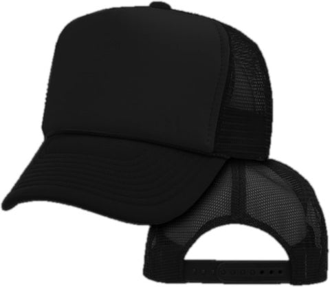 Vintage Trucker Hats -Solid  Black Trucker Cap
