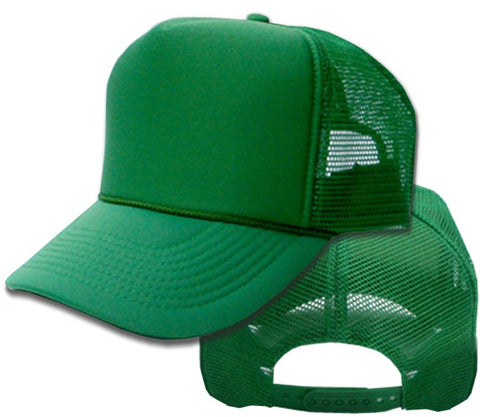 Vintage Trucker Hats - Solid Kelly Green Trucker Cap