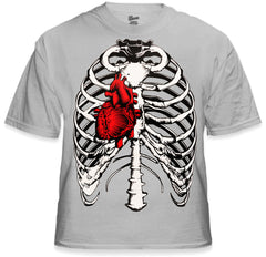 Walking Dead Men's T-Shirt with Exposed Ribs and Heart
