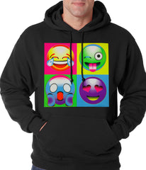 Block Print Emoji Faces Adult Hoodie
