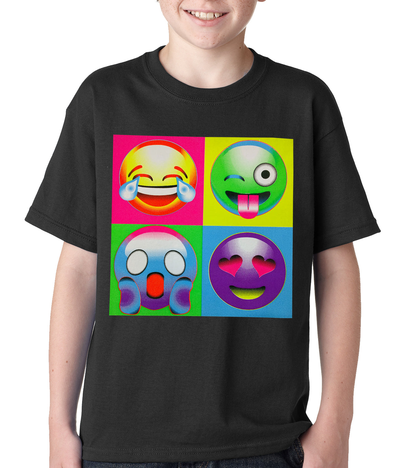 Block Print Emoji Faces Kids T-shirt