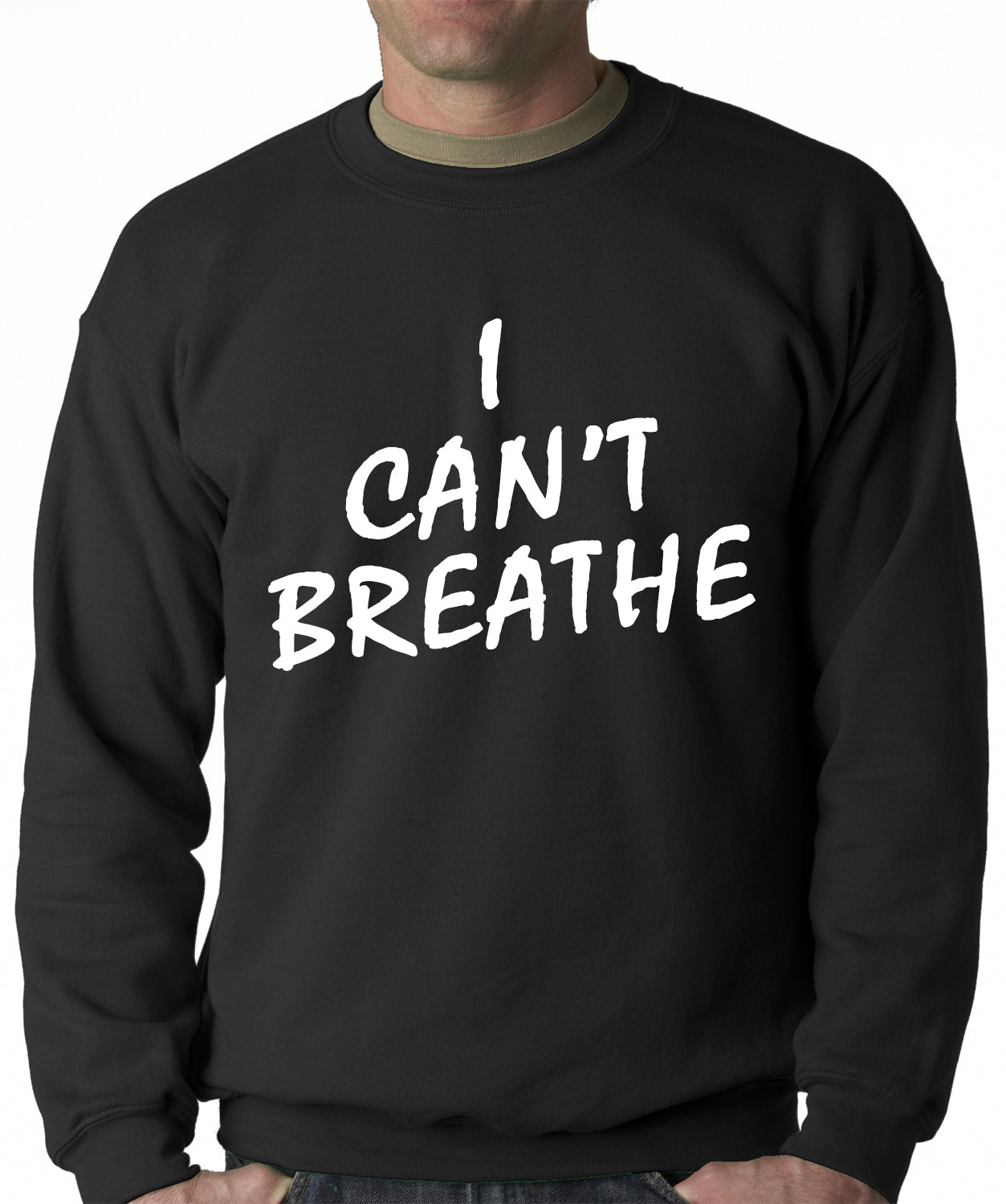White Print Eric Garner I Can't Breathe Adult Crewneck Sweatshirt