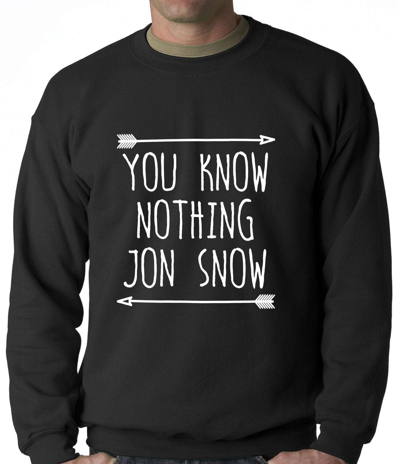 (White Print) You Know Nothing Jon Snow Adult Crewneck