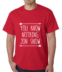 (White Print) You Know Nothing Jon Snow Mens T-shirt