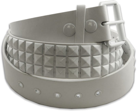 White Pyramid  Studded Leather Belt