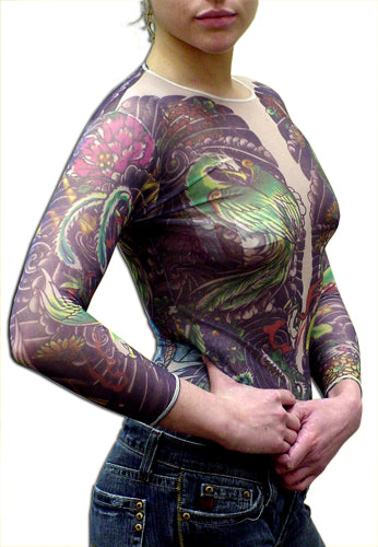 Womans  Geisha Dragon Full Body Tattoo Shirt