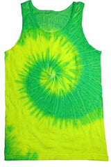 Yellow & Lime Spiral Tie Dye Tank Top