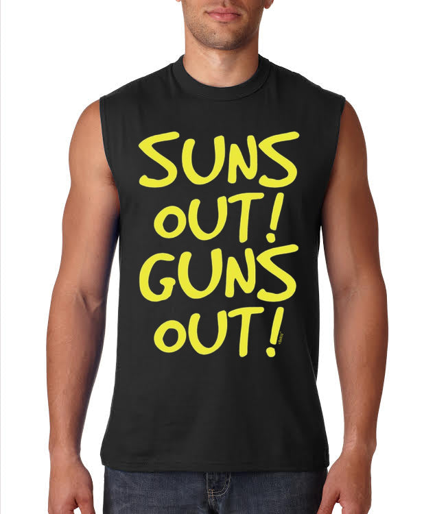 Yellow Print Sun's Out Guns Out Sleeveless T-Shirt (Black)