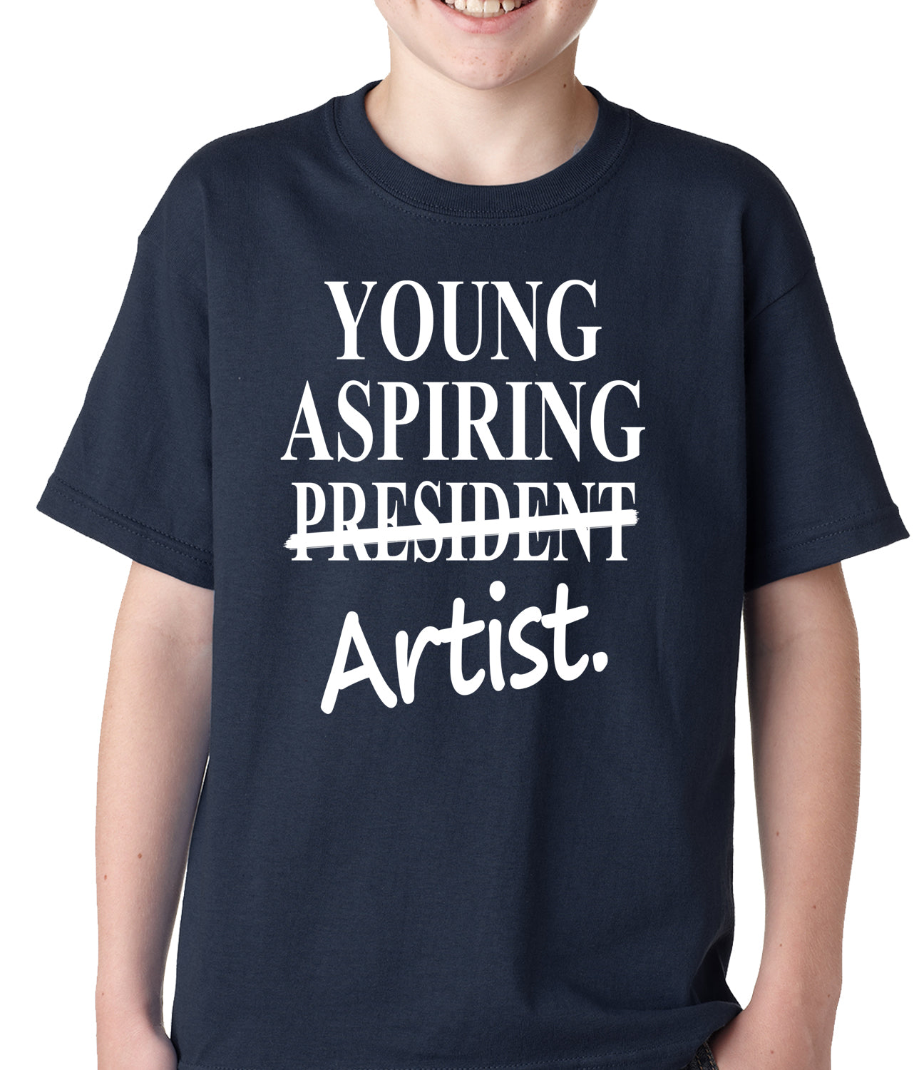 Young Aspiring Artist (President Crossed Out) Kids T-shirt