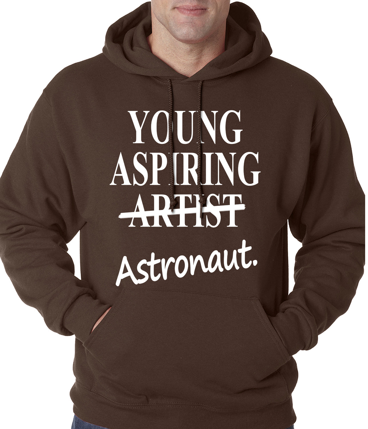 Young Aspiring Astronaut (Artist Crossed Out) Adult Hoodie