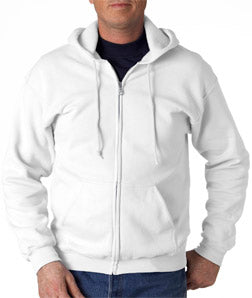 Zip Up Hooded Sweatshirt :: Premium Hoodie With Zipper (White)