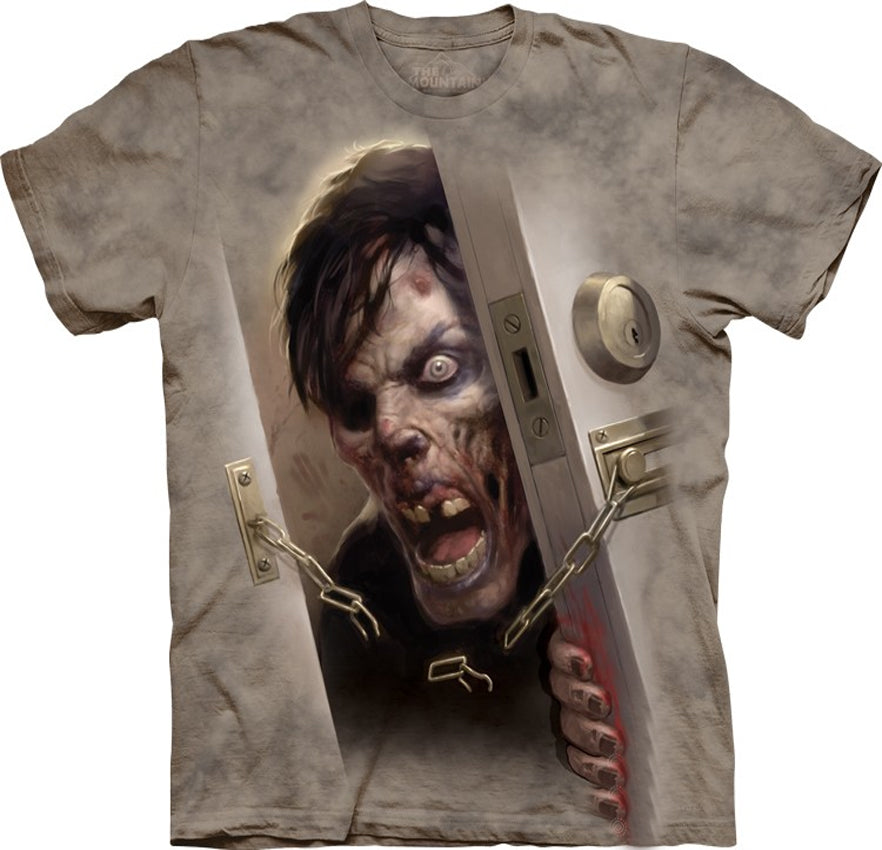 Zombie at the Door  Big Face Men's T-Shirt