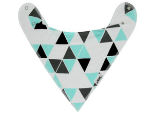 Mint & Gray Bandana Bib Set