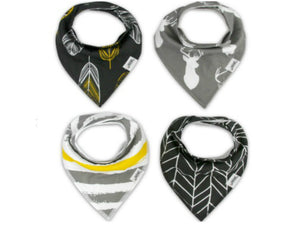 Gold & Gray Bandana Bib Set