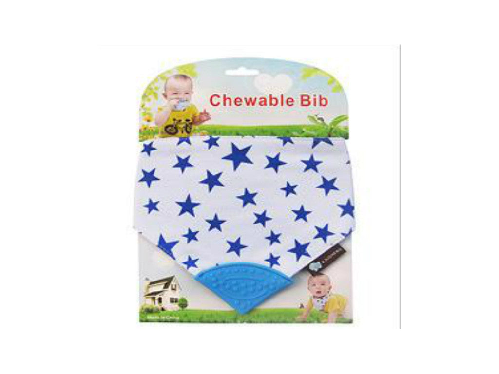 Chewable Bibs Stars Blue/White