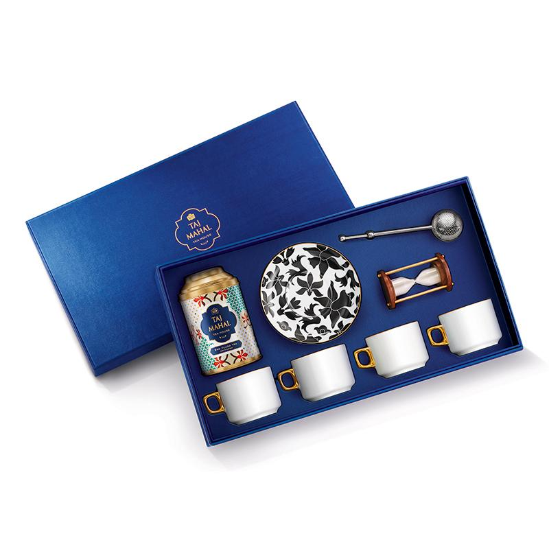 Bahar 24K Gold Plated Gift Set for Four with Darjeeling 2nd Flush Tea and Accessories