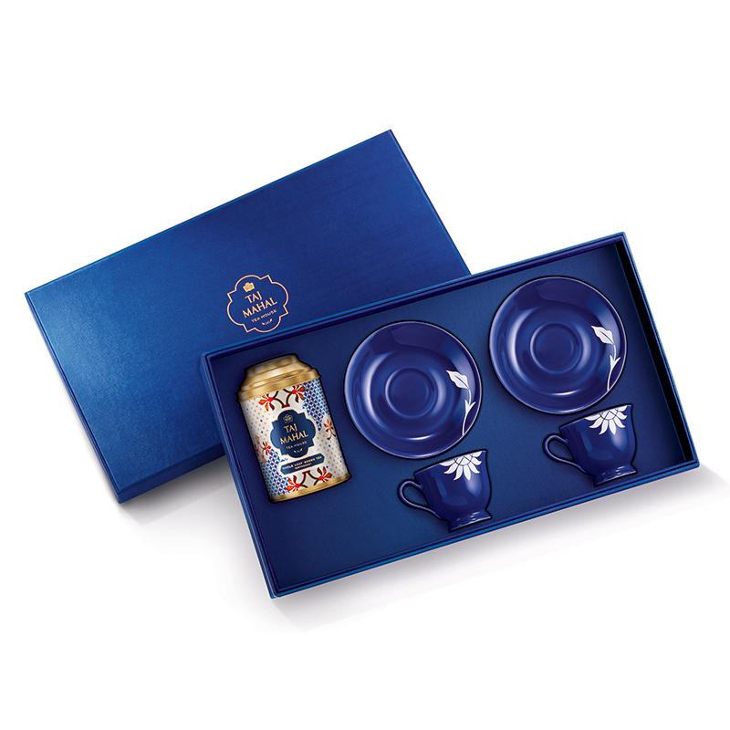 Hindol Bone China Gift Set for Two with Darjeeling Whole Leaf Green Tea