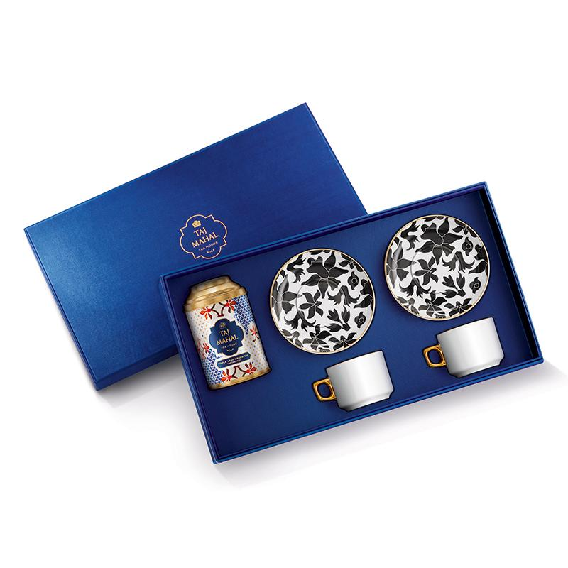 Bahar 24K Gold Plated Gift Set for Two with Darjeeling Whole Leaf Green Tea