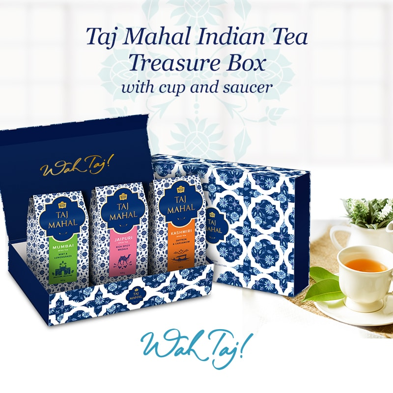 Taj Mahal Indian Tea Treasure Box with cup and saucer