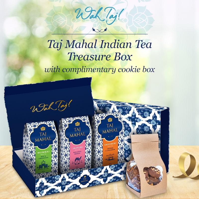 Taj Mahal Indian Tea Treasure Box with Exotic Cookie Box