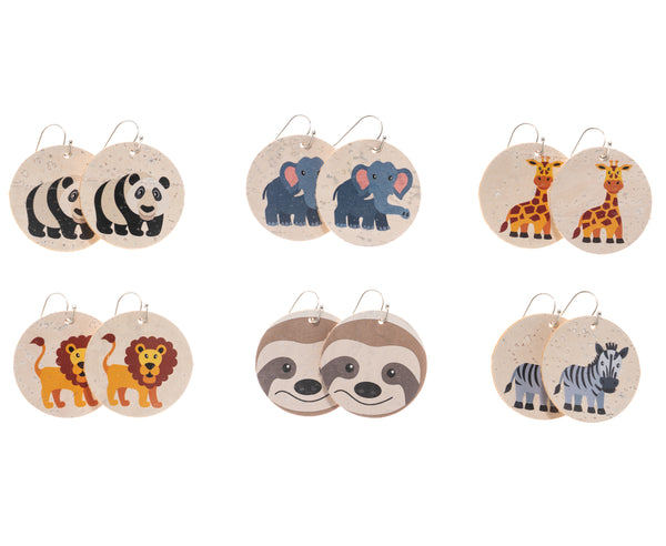 Circle Cork Earrings - Zoo Animals - Cartoon