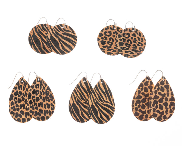 Natural Cork Circle/Teardrop Earrings - Animal Print