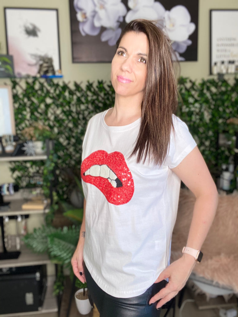 Sequinned Lips Tee