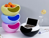 Creative Bowl Double Layer Snack Fruit Seeds Bowl With Phone Holder