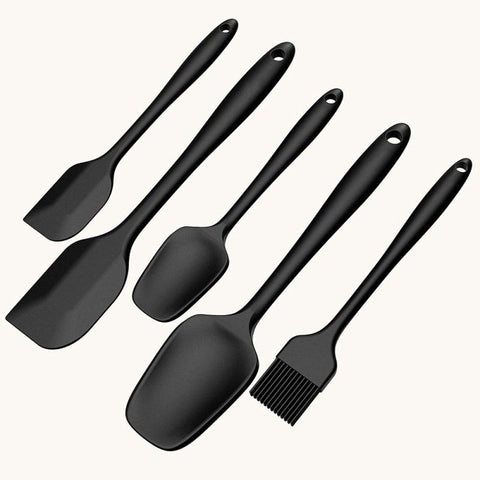 5 Piece Food Grade Silicone Spatula Scraper Blade Brush Mixing Set