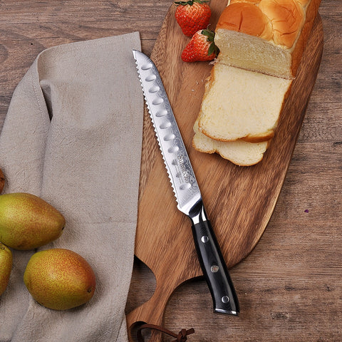"2018 SUNNECKO 8"" Damascus Bread Knife Japanese VG10 Steel Core Blade Kitchen Knives G10 Handle Breakfast Bread Slicing Cutter"