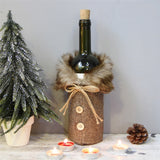 New Christmas Wine Bottle Cover Faux Fur Scottish Style Mini Button Tweed Coat Design