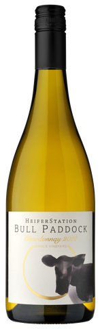 The 2018 release of Heifer Stations Bull Paddock Chardonnay label bottle shot