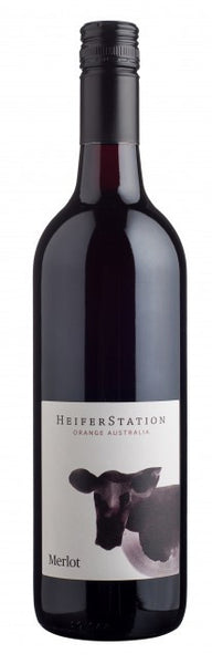 Heifer Station Merlot 2014, wine label on bottle with cow label