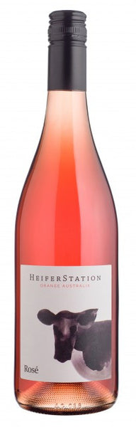 Heifer Station Rose wine label bottle shot with cow on label