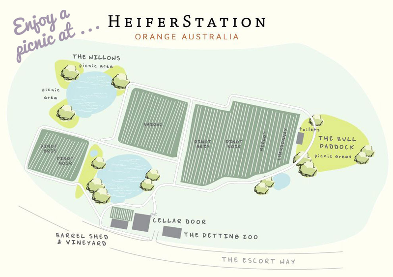 Map of vineyard picnic spots