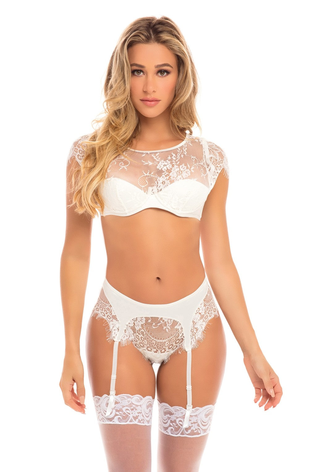 The Isabel Bridal Eyelash Crop Top and Knicker
