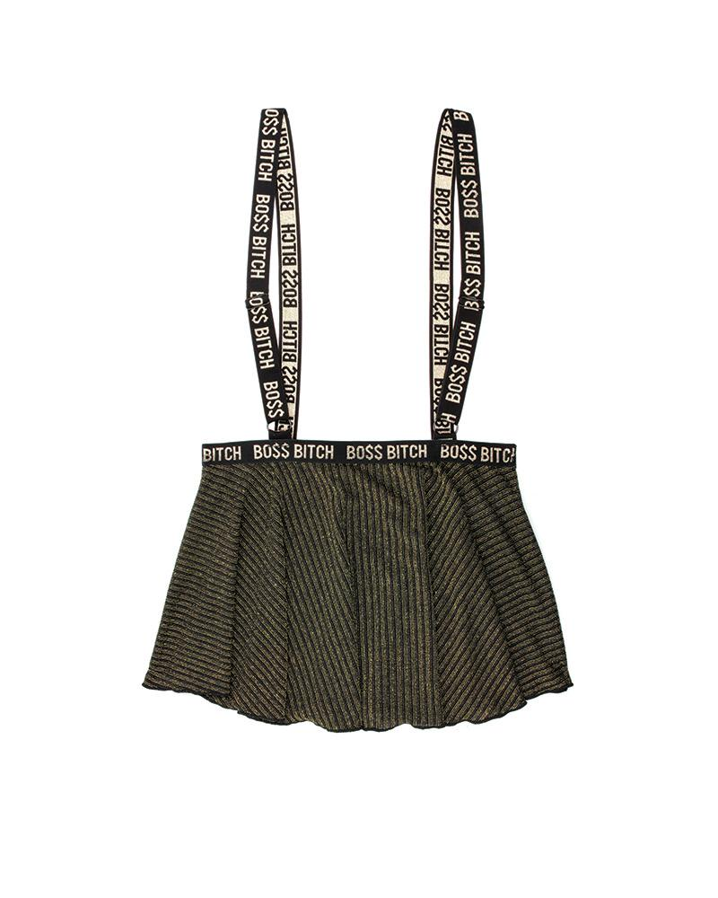 The Boss Knit Rib Suspender Skirt