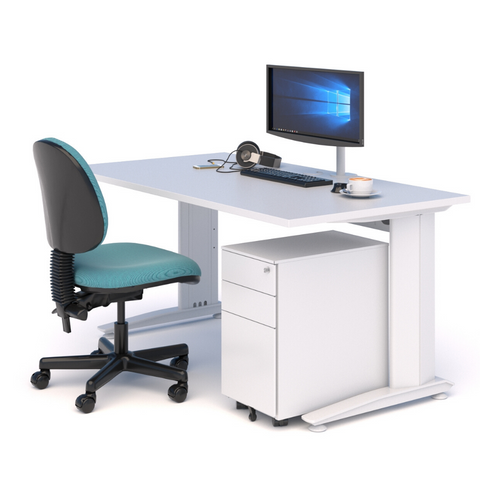 A WORKSPACE BUNDLE with DESK, CHAIR & DRAWS WHITE WITH WHITE TOP