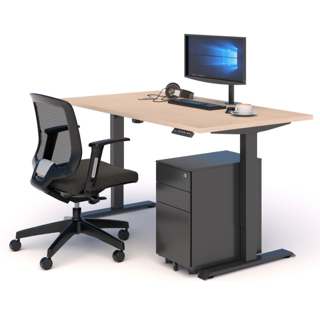 A WORKSPACE BUNDLE with STANDING DESK, MESH CHAIR & DRAWS OAK/BLACK
