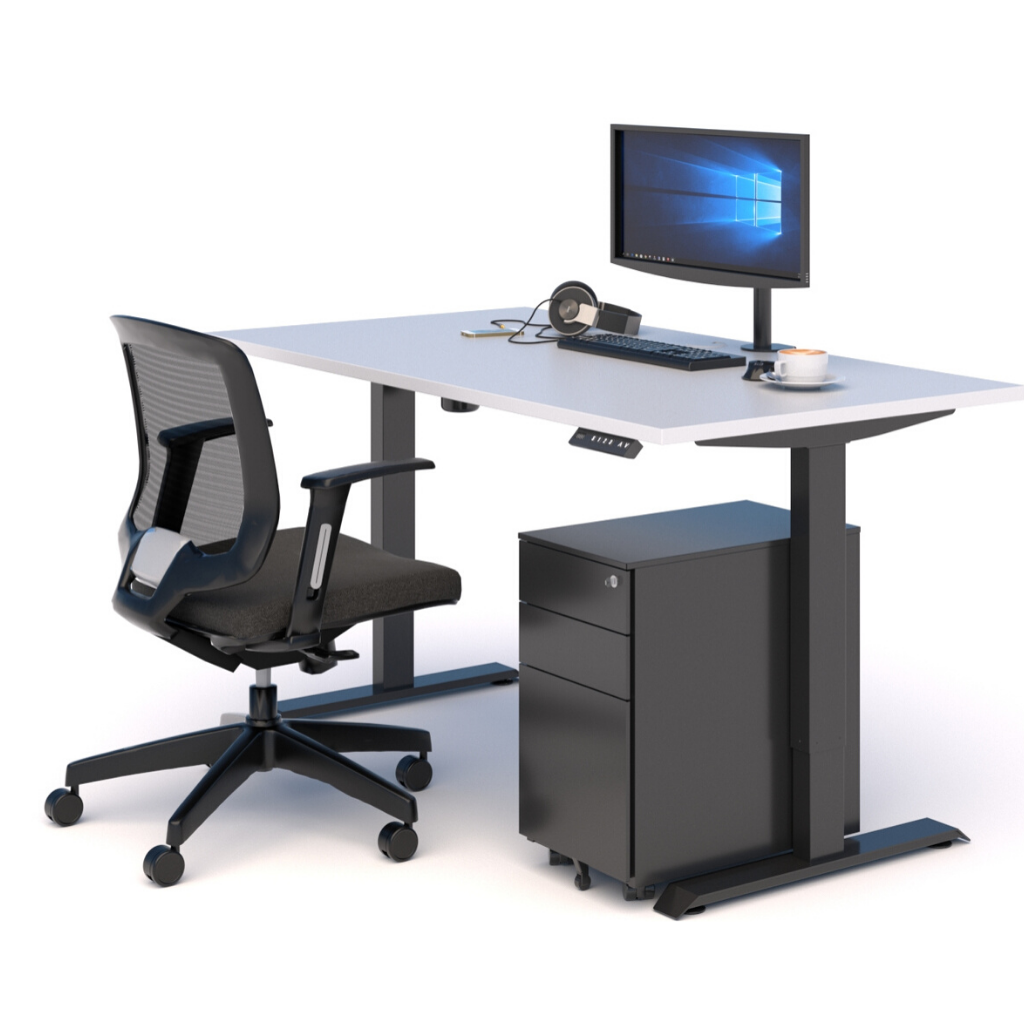 A WORKSPACE BUNDLE with STANDING DESK, MESH CHAIR & DRAWS WHITE/BLACK