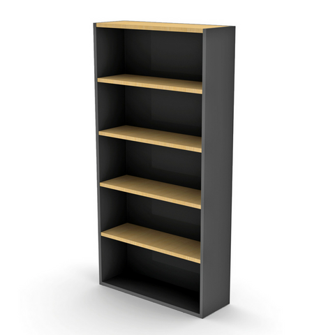 OPD Bookcase Beech and Ironstone 900Wx300Dx1800mmH